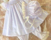 Ship March 15 Express Private Listing for Julianne Lavender and Ecru Angel Baby Pearl Set Top, Pantaloons and  Bonnet