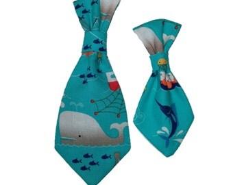 Blue Nautical Dog Tie - Whale Cat Tie - Shark Pet Accessory