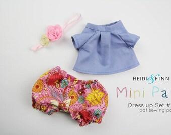NEW Mini Pals DRESS UP set #2 soft rag doll sewing pattern toy softie stuffed doll jumper t shirt bloomers raincoat hat