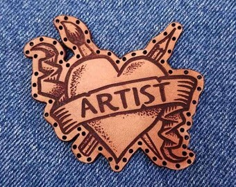 artist leather patch - tattoo style patch - art patch - heart patch - line art patch - drawing patch - painting patch - engraved patch