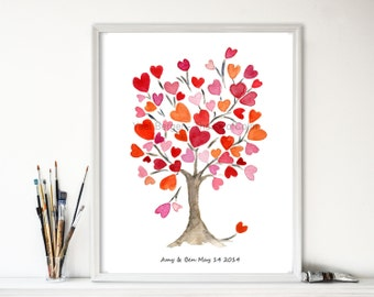 Hearts tree art print, Personalized art print, Hearts tree No.2, Valentine art, anniversary, weddings, girls room, dorm decor, mothers day