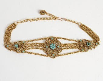 1950s vintage Victorian-inspired fillegree choker * faux turquoise stones * Goldette necklace * 1960s AC107