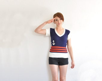 1960 navy sailor knit sweater . nautical embroidered anchor striped top .small