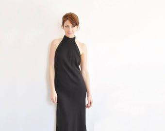 vintage black tie backless Ralph Lauren gown . formal beaded halter evening dress .medium.large .sale