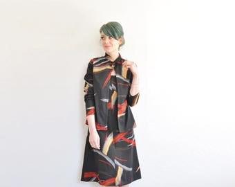 abstract brush stroke dress set . matching bow tie jacket . painters delight .medium