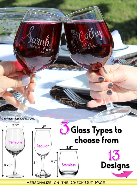 Maid of Honor Proposal, Wine glass, Thank you Gift, Wedding Coordinator Gift, Bridesmaids Gifts, Set of 3, Bride Squad
