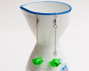 Origami earrings lime green turtle on thin chain eco-friendly jewelry