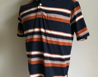 Vintage Men's 90's Polo Shirt, Navy Blue, Brown, Striped, Short Sleeve (M)
