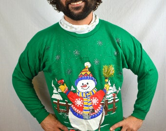 Vintage 90s Frosty the Snowman Glittery Christmas Sweater Holiday Xmas Green Party Sweatshirt