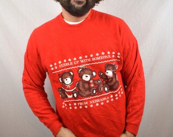 Vintage 80s Cute Christmas Puffy Teddy Bear XMAS Sweatshirt - Cuddle Up with Someone from Nebraska