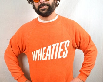 Vintage 80s VTG Soft Orange 1980s WHEATIES Sweatshirt Cereal Promo - Eat Your Wheaties