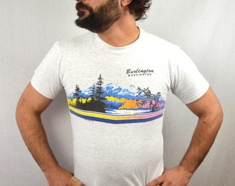 Vintage 1990 90s Burlington Washington Mountain Tshirt Tee Shirt