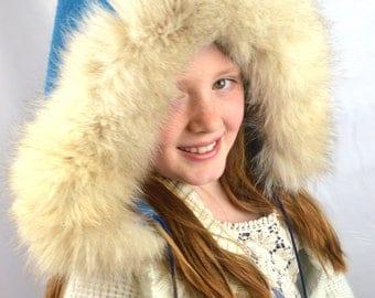 Awesome Blue Vintage Hood Fox Fur