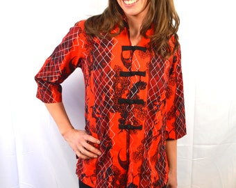 Vintage 1960s Hoaloha Red Black 1950s 50s Top Blouse