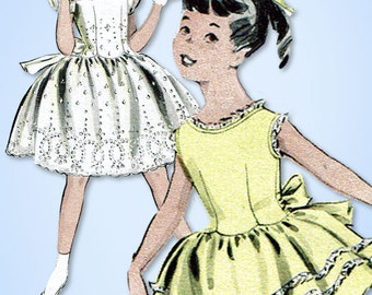 1950s Vintage Butterick Sewing Pattern 7976 Toddler Girls Party Dress Size 4 23B