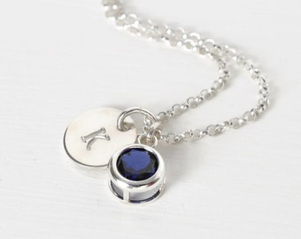September Birthstone and Initial Necklace Sterling Silver / Personalized Birthstone Jewelry / Initial Necklace with Sapphire