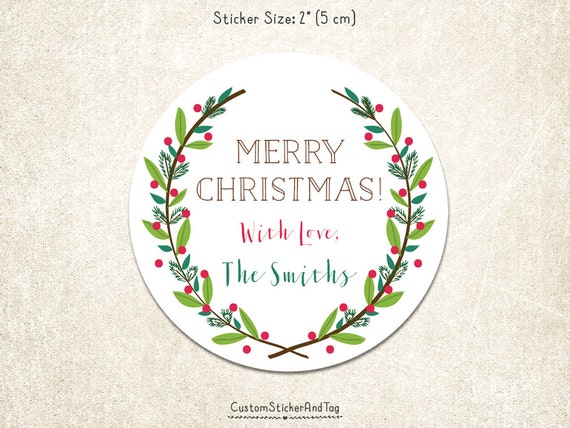 """PRINTABLE Christmas stickers round 2"""" wreath with leaves and berries, gift stickers, personalized holiday sticker, custom tag, labels (H-15)"""