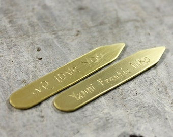 Brass handwriting collar stays, engraved actual writing, signature, personalized collar stiff, custom shirt stays for men, gift for dad