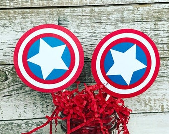 Captain America Shield Cupcake Toppers - Red White & Blue Superhero Avengers Tags - Set of 12 - Captain America Birthday Party