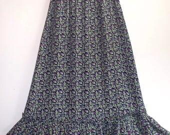 1970s flower child rayon crepe prairie ruffle maxi skirt