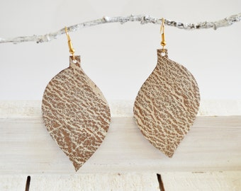 Metallic Creamy Gold & Tan Italian Leather Leaf Dangle Earrings