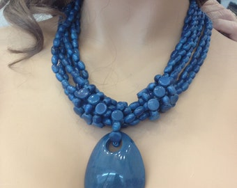 Blue medallion layered necklace in Tagua nut/Bohemian medallion necklace tagua
