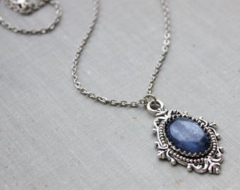 Blue Kyanite Necklace. Gemstone Necklace. Antique Silver or Antique Bronze