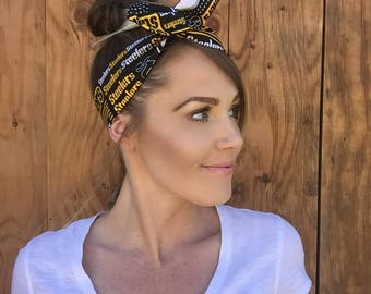 Pittsburgh Steelers Dolly Bow    Pinup Rockabilly Dolly Bow Tie Headband Yellow Black Red Football Headscarf Hair Band Head Wrap Team