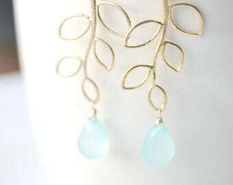 Aqua Wedding Earrings - Nature Inspired Earrings - Blue Aqua Wedding - Aqua Bridesmaid Earrings - Tree Earrings - Aqua Statement Jewelry
