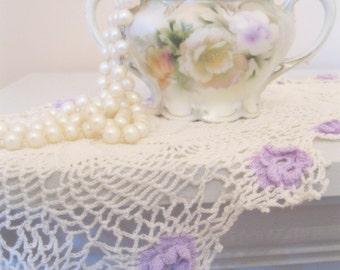 Crochet Runner with Lavender Flowers, Pinwheel Crochet Pattern on Runner, Shabby French Decor, Romantic Home, by mailordervintage on etsy