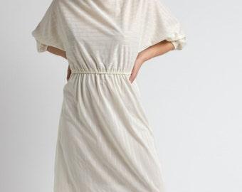 Vintage 70s White Sheer Striped Batwing Midi Dress   S
