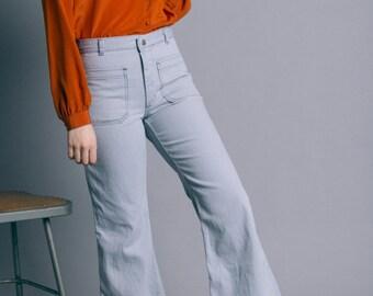 Vintage 70s Light Denim Worker Flared Jeans   6