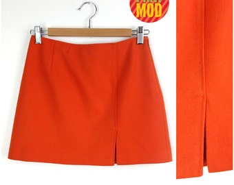 Vintage 90s Bright Orange Mini Go-Go Skirt!