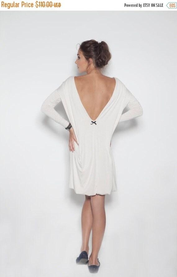 SALE - White dress | Backless dress | Dress with black bow | LeMuse white dress