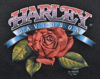 Vintage 80s 1989 HARLEY DAVIDSON Motorcycles 3D EMBLEM Maui Hawaii Tank Top S