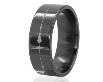 Sound Wave Black Zirconium Ring: BZ-8F-SoundWave-L