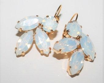 White Opal Earrings,Bridal White Earrings,Valentines Gift,White Opal jewelry,Cluster Statement Earrings,Chandelier Earrings,Rhinestone,Lux,