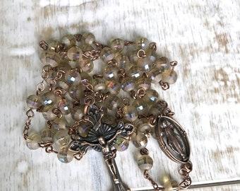 Handmade Catholic Rosary, Champagne Rosary, Amber Rosary, Copper Rosary, Vintage Style Rosary, Linked Rosary, Rosary Necklace, Prayer Beads