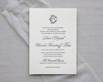 Charleston Letterpress Wedding Invitation - Letterpress Wedding Invitation - Calligraphy, Monogram, Elegant, Simple, Classic, Script