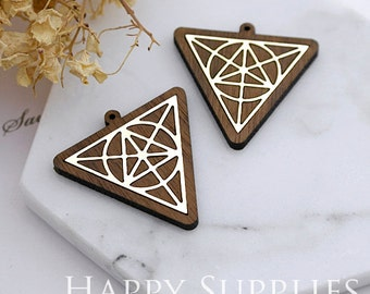 Limited Edition - 2pcs Handmade 925 Silver Plated Brass Wooden Charm / Pendant, Perfect for Earring Necklace (LES48-S)