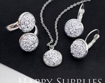 10pcs Silver 12mm (FDC02) Crystal Faux Druzy Cabochons