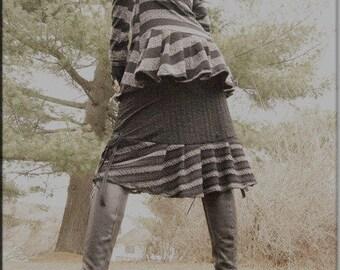 SALE - Steampunk - Burning Man - Bohemian - Black and Grey Strips - Tunic - Top - Playa Wear - Strip Tunic - Gothic Fashion - Size X- Small