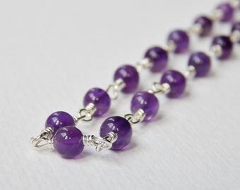 Amethyst Necklace - Sterling Silver Beaded Necklace Rosary Necklace Beadwork Necklace Rosary Chain Amethyst Beads