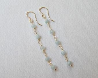 Aquamarine Earrings - Sterling Silver Long Beaded Dangle Earrings Beadwork Earrings Rosary Earrings Rosary Chains Aquamarine Beads