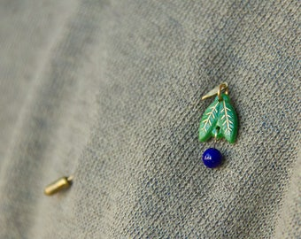 blueberry and two leaves, raw brass and glass nature brooch