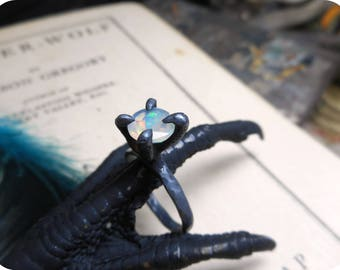 The Raven. Genuine Ethiopian Welo Fire Opal Engagement Ring Sterling Silver Bird Talon Foot 1CT Round solitaire handmade Gothic #etsymatch