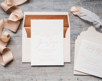 Mandala luxury letterpress boho wedding Invitation. Blush and copper.