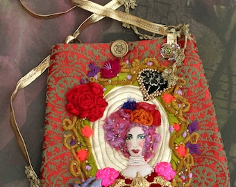 Red Queen bag-  wearable art purse, romantic embroidered purse, crossbody bag, orange, pink, red, vintage trims, wearable art