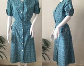 1950s  1960s Turquoise Print Day Dress  Vintage Cotton Summer Dress  Button Up Shirt Style  Large Pockets