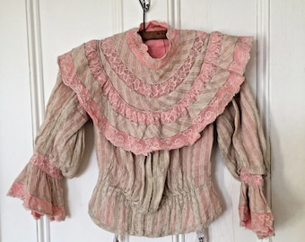 Beautiful & Rare Pink French Antique Victorian Bodice Cotton Lace S 1900s